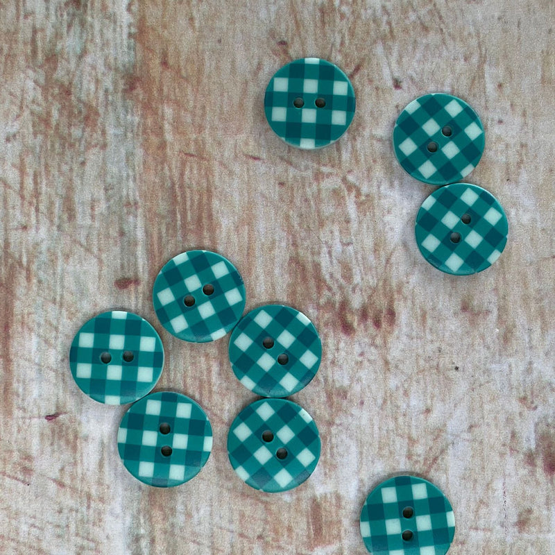 18mm Teal Gingham Button | 7091/18/511