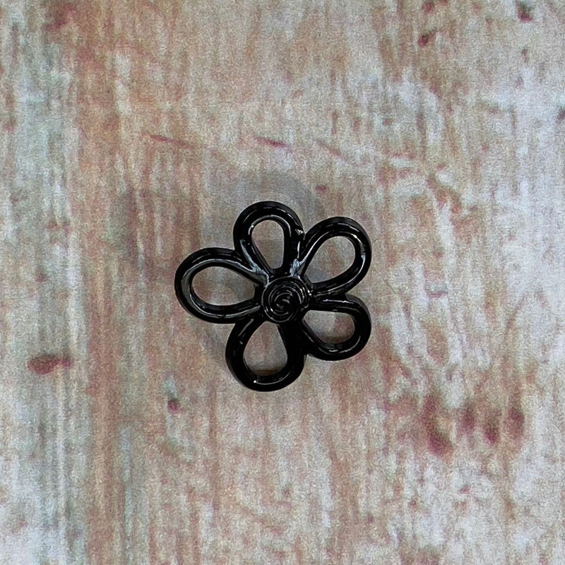 24mm Glossy Black Flower Shaped Button | TG3.011