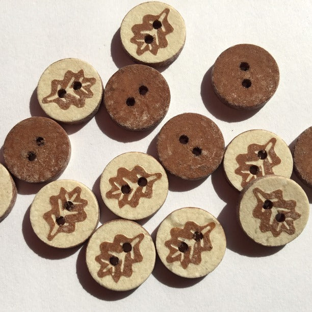 12mm Shell Button With Brown Coloured Leaf Design | TGB2260