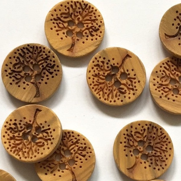 17mm Neutral Button With Laser Tree Design | TGB1585