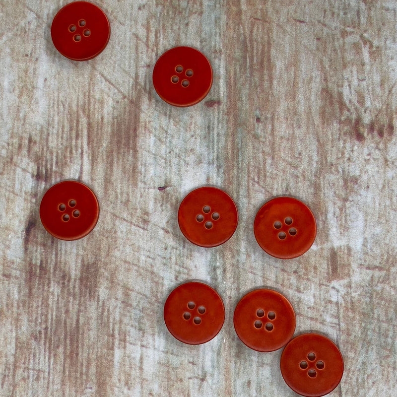 15mm Shell Button With Matt Finish In Tomato Colour | TGB2429