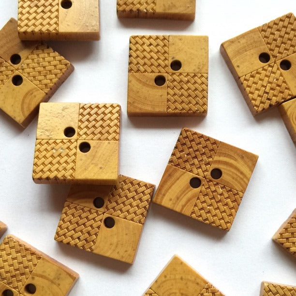 20mm Square Wooden Button With Laser Design | TGB3037