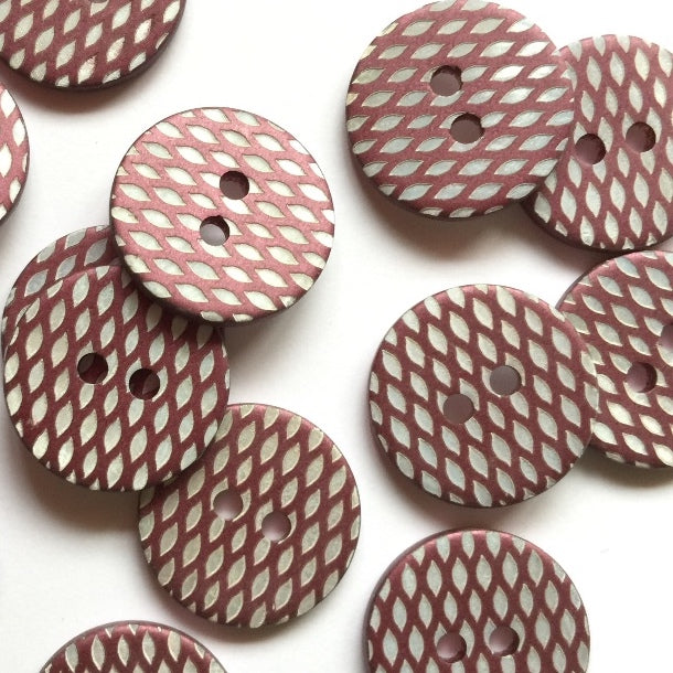 18mm Shell Button With Pink Laser Etched Design | TGB3970