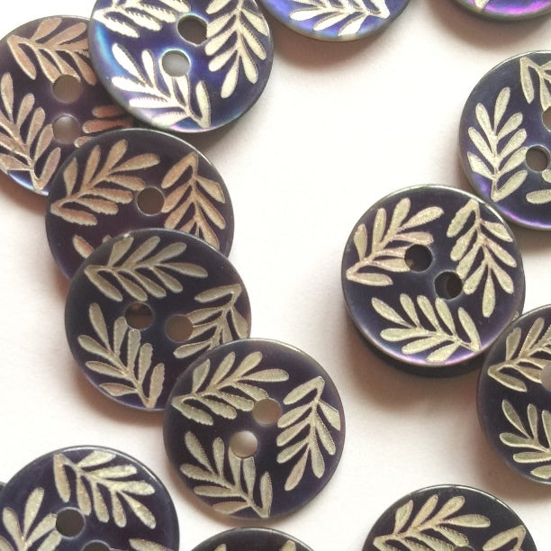 12mm Blue Shell Button With Silver Leaf Design | TGB4227