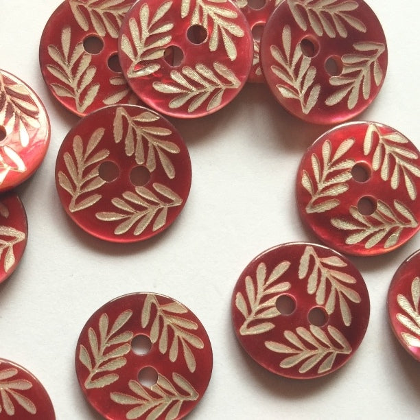 12mm Red Shell Button With Silver Coloured Leaf Design | TGB4228