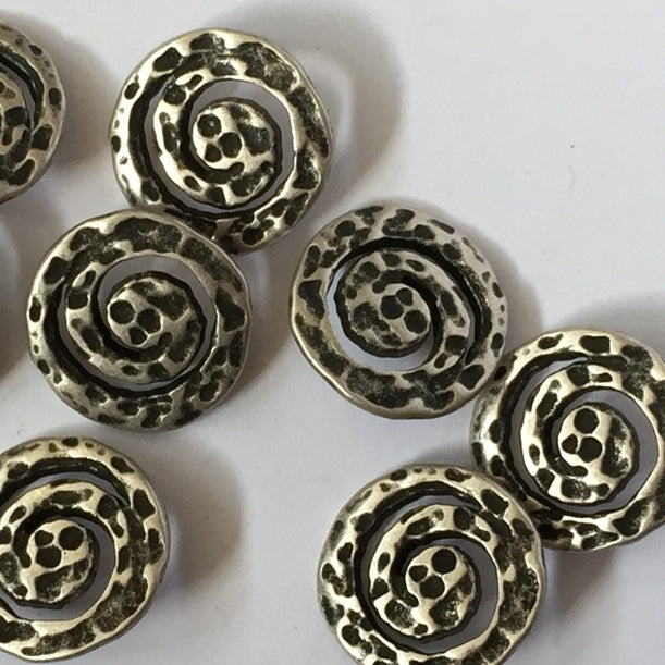 22m Metal Textured Swirl Metal Button | TGB934