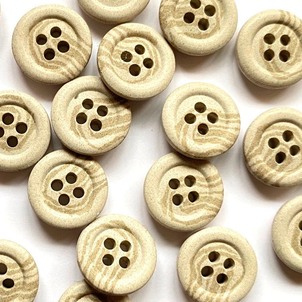 15mm Hemp Stone Button With Marbled Design | TGB4325