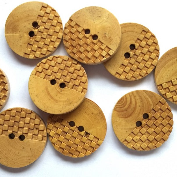 20mm Wood Button With Half Check Design | TGB3036