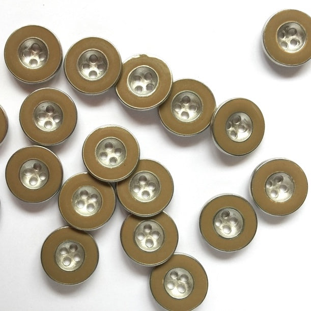 15mm Silver Coloured Button With Sand Coloured Enamel Edge | TGB3989