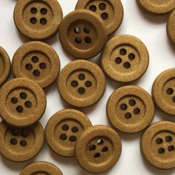15mm Toffee Coloured Round Button | TGB4005