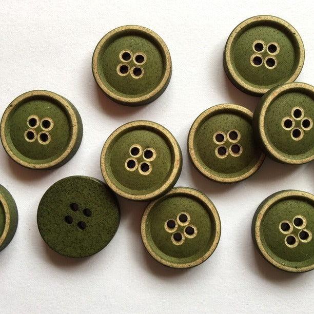20mm Green Imitation Wood Button | TGB2870
