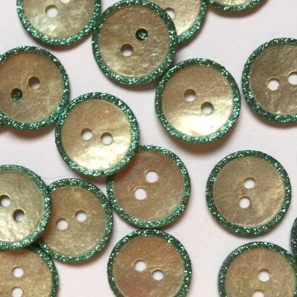 12mm Shell Button With Green/Blue Sparkly Raised Edge | TGB3056