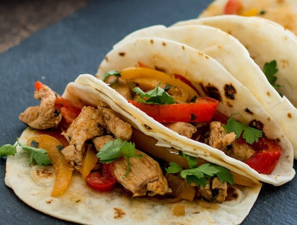 Fajitas with Chicken, Steak or Halloumi cheese