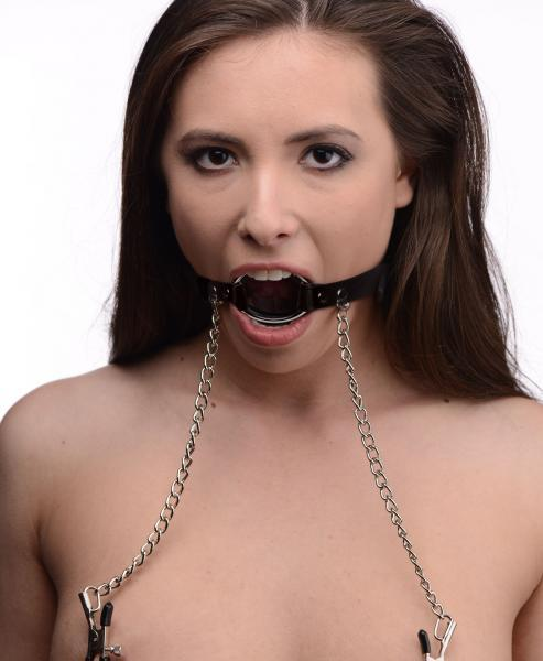 Seize O-Ring Gag with Nipple Clamps Black
