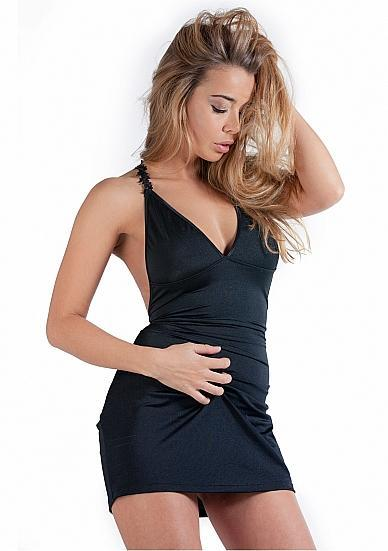 Mini Dress With Open Back Black L/XL