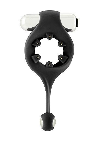 Infinity Vibrating Cock Ring With Dangling Ball Black
