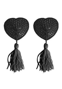 Nipple Tassels Heart Black Pasties