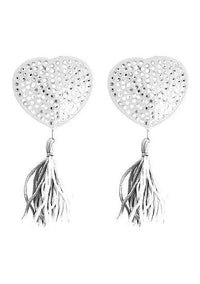 Nipple Tassels Heart White Pasties