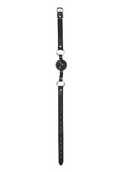 Ouch Gag Ball Leather Straps Black O/S