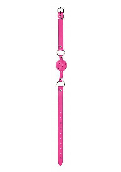 Ouch Gag Ball Leather Straps Pink O/S