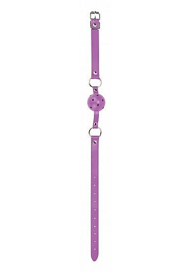 Ouch Gag Ball Leather Straps Purple O/S