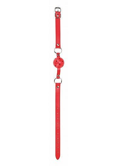 Ouch Gag Ball Leather Straps Red O/S