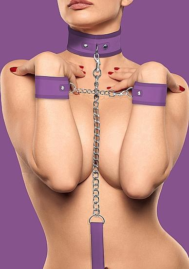 Velcro Collar With Seperate Cuffs - Purple
