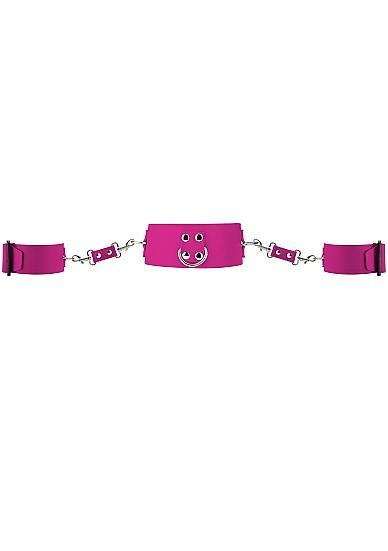 Ouch Collar and Cuffs with Metal Fasteners Pink
