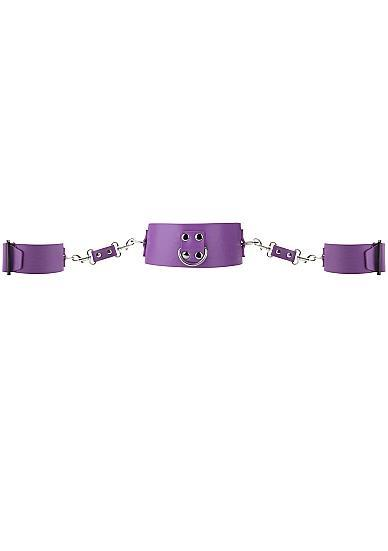 Ouch Collar and Cuffs with Metal Fasteners Purple