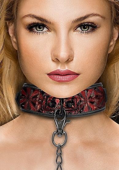 Ouch Luxury Collar With Leash Burgundy