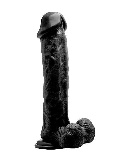 Realistic Cock 11 inches With Scrotum Black Dildo