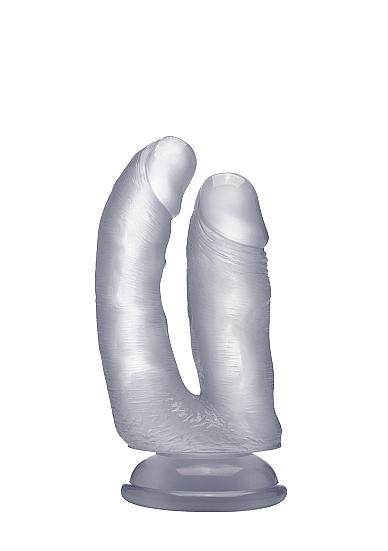 Realistic Double Cock 6.5 Inches Translucent Clear