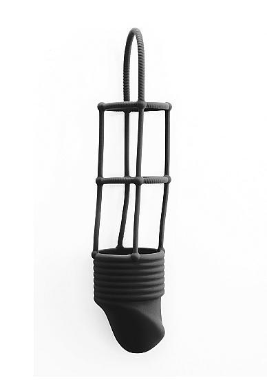 Shots Ribbed Cock Cage Black