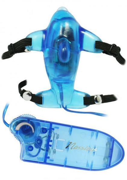 Beautiful Blue Dolphin Vibrating Strap On Blue