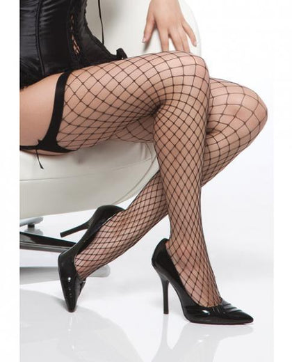 Diamond Net Thigh High Stockings Black O/S - Dick and Jane Adult Emporium