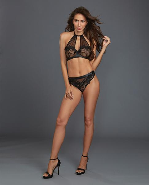 Lace, Sheer Mesh Halter Underwire Bra & Thong Black Md - Dick and Jane Adult Emporium