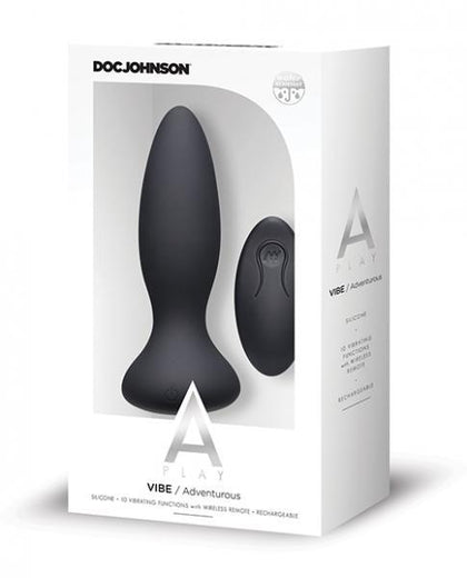A Play Vibe Rechargeable Adventurous Anal Plug Remote Black - Dick and Jane Adult Emporium