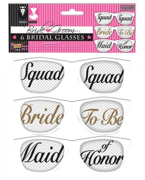 Bridal Party Mesh Glasses Set Of 6 - Dick and Jane Adult Emporium