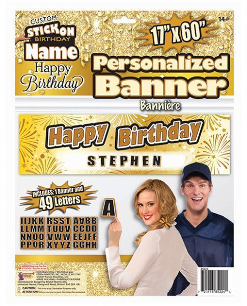 Custom Stick On Happy Birthday Banner Gold Black - Dick and Jane Adult Emporium