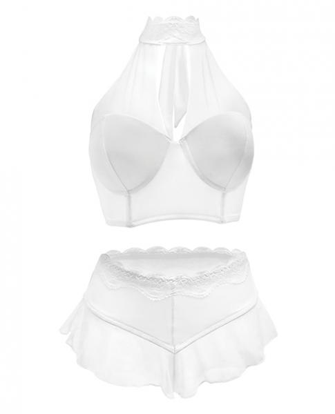 Premiere Embroidered Halter Bra & Panty White Md - Dick and Jane Adult Emporium