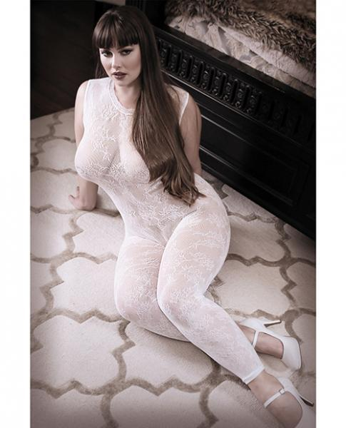 Sheer Fantasy Lace Edge Floral Bodystocking White Qn - Dick and Jane Adult Emporium