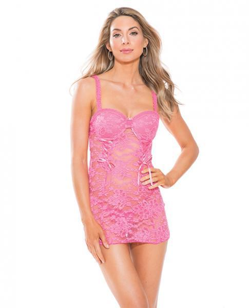 Lace Chemise Padded Cups, Adjustable Straps Pink XL - Dick and Jane Adult Emporium