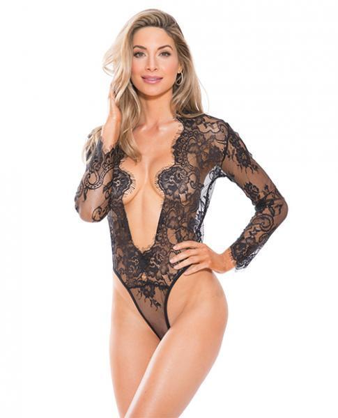Lace Teddy Black Long Sleeves X-Large - Dick and Jane Adult Emporium