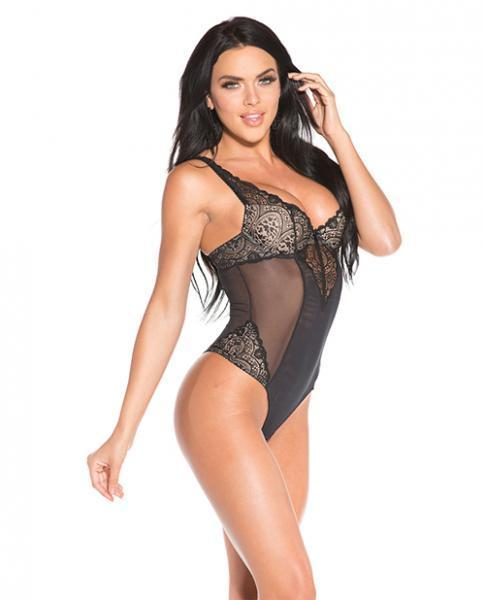 Sheer & Lace Thong Back Teddy Black Nude 2X - Dick and Jane Adult Emporium