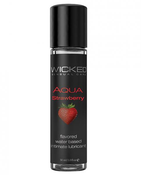 Wicked Aqua Water Based Flavored Lubricant Strawberry 1oz - Dick and Jane Adult Emporium