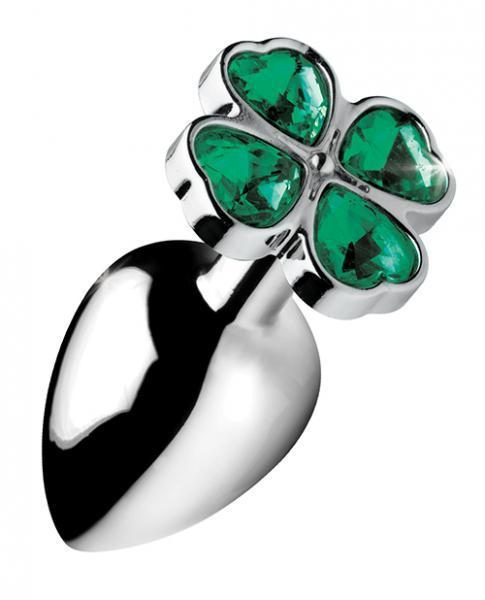 Booty Sparks Lucky Clover Gem Anal Plug Large Silver - Dick and Jane Adult Emporium