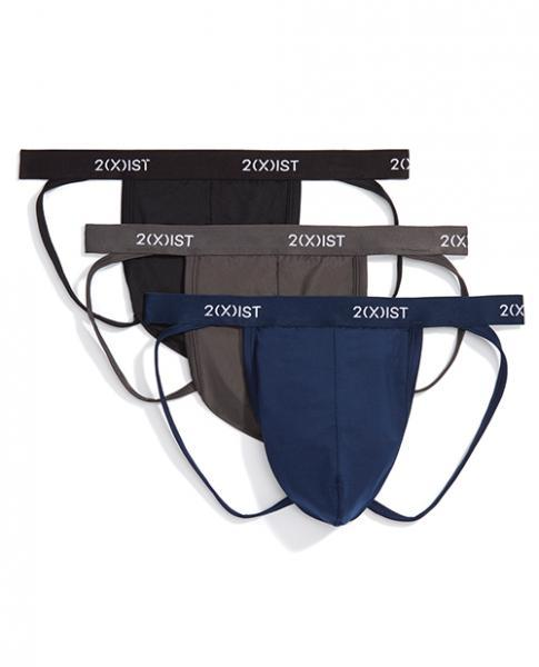 2xist 3 Pack Micro Speed Dri Jock Strap Black, Charcoal & Navy Md