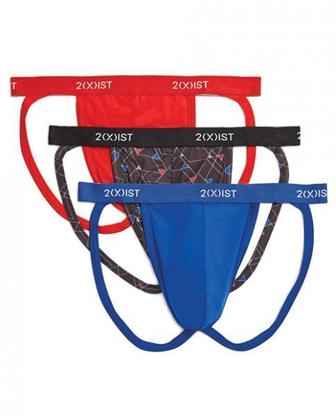 2xist 3 Pack  Jock Strap Red, Black, Blue XL - Dick and Jane Adult Emporium