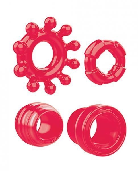 Ring The Alarm Cock Ring Set 4 Pack Cock Rings Red