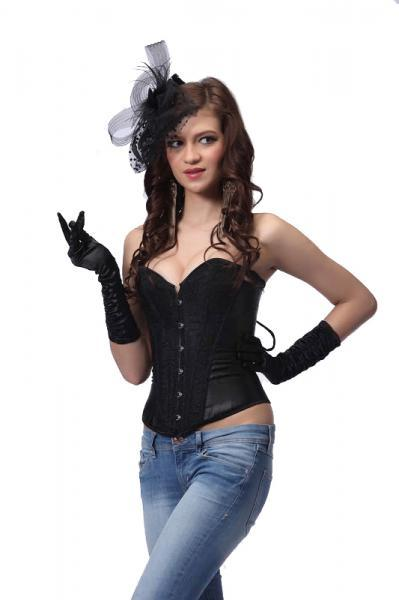Victorian Shimmer Corset & G-String Small Black